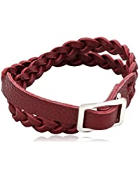 Pilgrim Jewelry Damen Armband Messing Leder Winter Bracelet Versilbert 40.0 cm rot 291346302