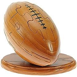 Rugby Ball 3D Puzzle en bois + keyring gratuit: nouveauté d'amusement de Noël et cadeau d'anniversaire: Idée teaser de cerveau cadeau: Jigsaw: Ornement: Cadeaux pour les enfants, les hommes, les garçons, les fans de rugby