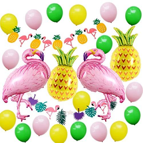Flamingo Ananas Helium Ballons, Hawaiian Beach Party Dekoration Aluminiumfolie Ballon Kit, Tropischen Sommer Party Supplies Dekor Garland Bunting Banner und Latex Party Ballons Pack