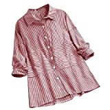CUTUDE Damen T Shirt, Sommer Frauen Freizeit Gestreiftes Reversknopf Plus Größen Lange Ärmel Spitzenhemd Bluse (Rosa, XX-Large)