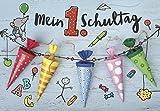 DeCoArt... 1 Glückwunschkarte Schulanfang Mein 1 Schultag Schultüte Zuckertüte ca 11x12 cm bunt