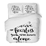 SanChic - Juego de Funda de edredón con Texto en inglés «Be Strong Brave Fearless You Are Never Bible Verse»