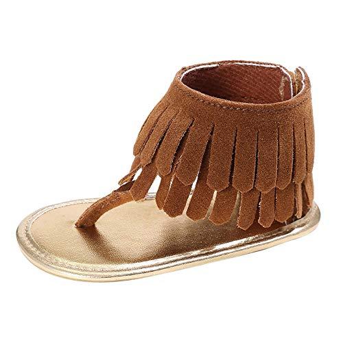 feiXIANG Neugeborene Mädchen Weiche Sohle krippe Schuhe Kleinkind Rutschfeste Turnschuhe Quaste Baby Wanderschuhe Sommer (Braun,0-6 ()