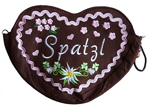 Damen Dirndl Handtasche Herz Umhängetasche Spatzl XL (25x20 cm) braun Rosa