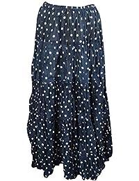 1ac32a25ed Mogul Interior Bohemian Long Skirt Black Printed Tiered A-Line Boho Peasant  Maxi Skirt