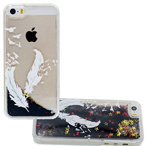 Écoulement Noir Poudre & Étoiles Désign pour iPhone 5 5S SE Coque Etui Dur Transparent PC Gel Eau Liquide Case - Ananas Motif color-3
