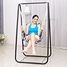 ALK Swing Stand with Chair Hammock Seat Set for Indoor Outdoor Garden Yard Gario Hanging Rope for Children Adult (swing stand + seat)