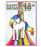 Magical Einhorn 18. Geburtstagskarte–Mädchen; Teenager–Tochter–Geburtstagskarte für Enkelin–Schwester–Freund