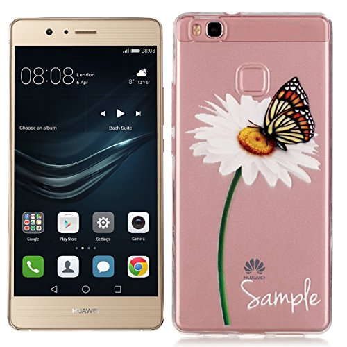Huawei P9 Lite Cover , Custodia per P9 Lite (Non Per Huawei Ascend P9 ) Crystal Clear Trasperante Gomma Gel in TPU Silicone , We Love Case Bumper Puro Color Ultra Slim Morbido Protettiva - Butterfly e Bianco Flower