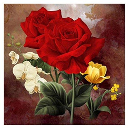 Broadroot DIY 5d Diamant Broderie Rose rouge fleur Peinture Croix Décoration murale