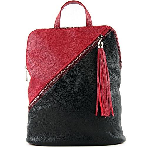 zaino in pelle zaino 3in1 zaino Citybag T141 T161 Schwarz/Rot