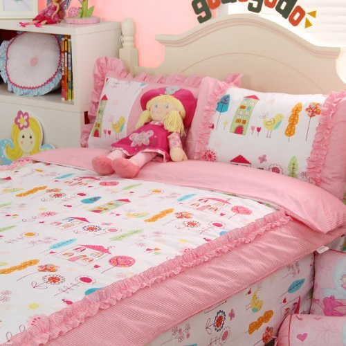 sisbay-childrens-cartoon-bedding-girls-princess-twin-queen-king-pink-duvet-cover-castle-plaid-ruffle
