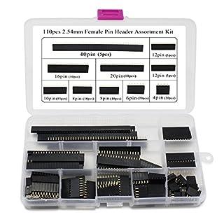 Aussel 110 Stück 2,54 mm Buchsenleisten-Sortimentskit für Arduino Stackable Shield (PIN-SF110PCS)