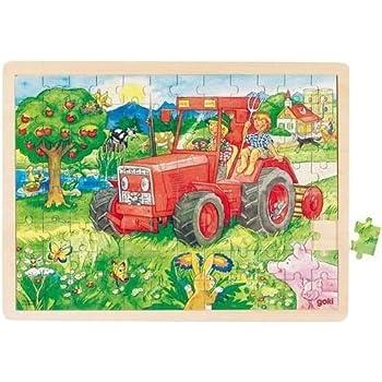 Goki - 2041644 - Puzzle En Bois À Encastrement - Tracteur - 96 Pièces