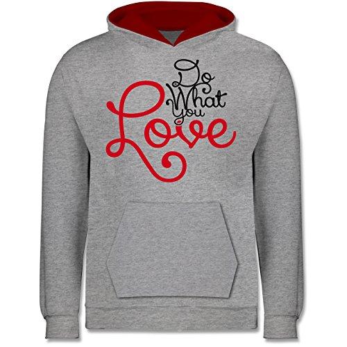 Kostüm J Valentine - Shirtracer Sprüche Kind - Do What You Love - 7-8 Jahre (128) - Grau meliert/Rot - JH003K - Kinder Kontrast Hoodie