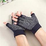 Guantes para Yoga y Pilates,mujeres Cotton Half Finger Anti Slip Yoga Gloves deportivos,Beatie Guantes resistentes al desgaste