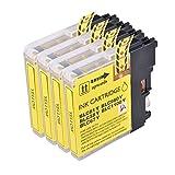4Gelb PerfectPrint Kompatible Tintenpatrone ersetzen LC1100LC980LC 1100LC 980Für Brother MFC-250C 255CW 290C 295CN 297C 790CW 490CN MFC-5490CN MFC-5890CN MFC-795CW MFC-6490CW MFC-6890CDW MFC-990CW DCP-145C DCP-163C DCP-165C 167C DCP-185C DCP-195C DCP-365CN