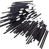 Frcolor 50 Pezzi Pennelli per Labbra Monouso Trucco Bacchette Applicatore Pennelli per Rossetti Lucidalabbra Nero