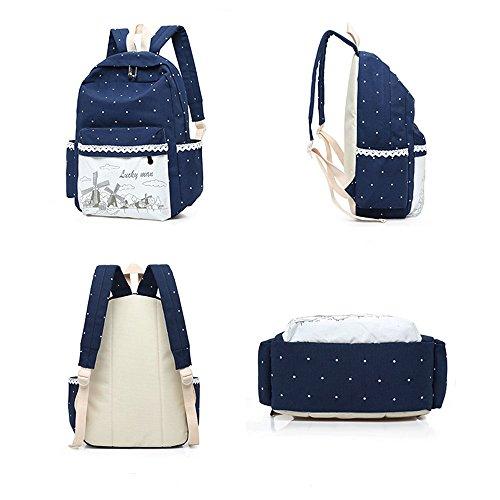 ZUNIYAMAMA Sacs à dos occasionnels + sacs à bandoulière + portefeuille pour sac à dos pour ados bleu