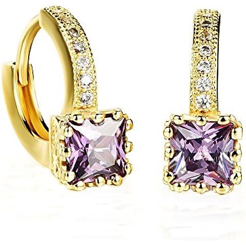 howfitu bañados en oro 18K púrpura CZ Zircon Sparkle Crystal cuadrado Pendientes de aro para las