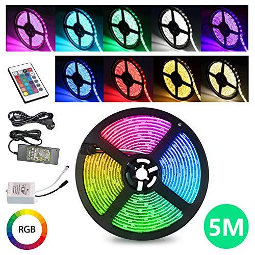 TolleTour LED Strip 5M RGB LED Streifen 150 LEDs Band mit 24 Tasten Fernbedienung IP65 Wasserdicht Leiste SMD 5050, Farbwechsel, Selbstklebend Lichterkette Kit