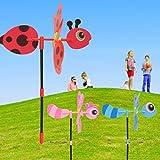 Hergon Kleine Biene Stereo Cartoon Windmühle (zufällige Farbe) Kunststoff Windmühle Windrad Wind Spinner Kinder Spielzeug Garten Rasen Party Decor Spielzeug Geschenk Für Jungen Mädchen Baby