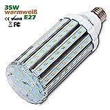 Wenscha 35W E27 LED Mais Lampe, 3000K Warmweiß 360° Abstrahlwinkel 5730 SMD Energiesparlampe LED Birnen Maiskolben Leuchtmittel Hochleistung 3000Lumen Ersatz 250W, Nicht Dimmbar