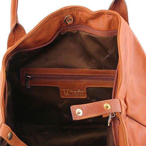 Tuscany Leather TL KeyLuck Schultertasche aus Leder Rot Cognac