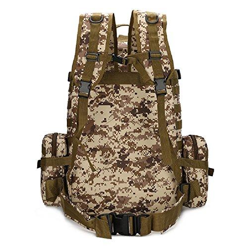 Nuovo zaino 50L tattico militare esterno assalto zaino Campeggio borsa zaino da viaggio grande, Black Army Green