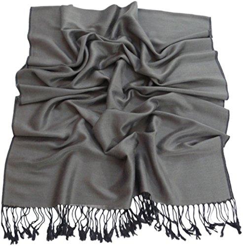 Solides secondes couleur châle pashmina enveloppe d'écharpe Châles Pashminas Foulards (60+ couleurs) Gris argent & Noir