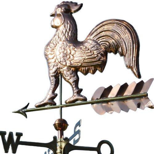 Kupfer Wetterhahn auf Pfeil Motivgröße: 63 x 60 cm inkl. Windrose und 2 Kupferkugeln ca. 5 kg aus poliertem Kupfer. Wetterfahne, Dachschmuck