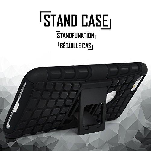 iPhone 5S Hülle Silikon Hard-Case Grün [OneFlow Outdoor Back-Cover] Extrem Stoßfest Schutzhülle Grip Handyhülle für iPhone 5/5S/SE Case Rückseite Tasche OBSIDIAN