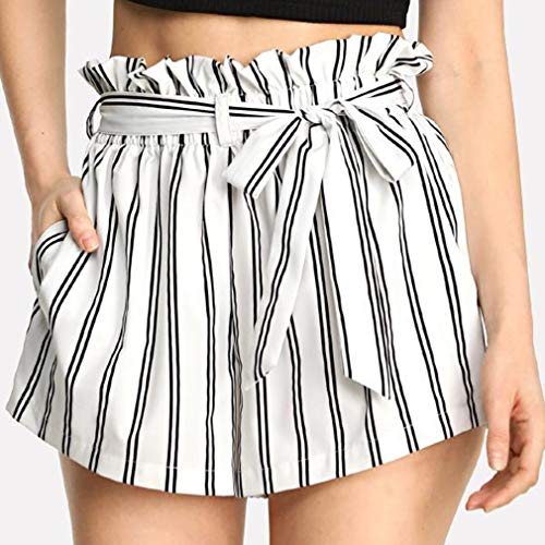 LIGHTBLUE Damen Sexy Hot Pants Hohe Taille Gestreifte Casual Sommer Bogen Shorts, Weiße Nadelstreifen, M -