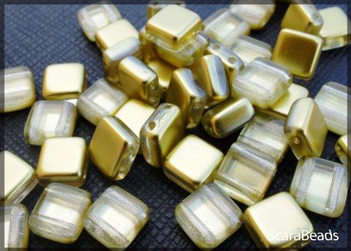 40 pz Tile Beads - Ceco piazza perline di vetro con due fori, rivestimento perla da un lato, Gold - Veneziana Seed