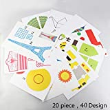 3D Pen Schablonen,3D Pen Stencils 3D Drucker Stift Papier Stencils/ 20 Seiten Verschiedene Papier Patterns/ 3D-Modellbau Arts & Crafts Zeichnung/Bunte 3D Druckmuster.