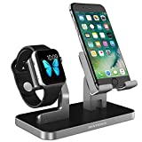 Apple iPhone 8 Supporto iPhone X Stand BENTOBEN Docking Station iPhone stand Ricarica da tavolo Plastica Silicone Gomma Antiscivola Magnetica per iPhone 5 /6/ 7 /8 iWatch iPad Huawei Honor Nero Grigio
