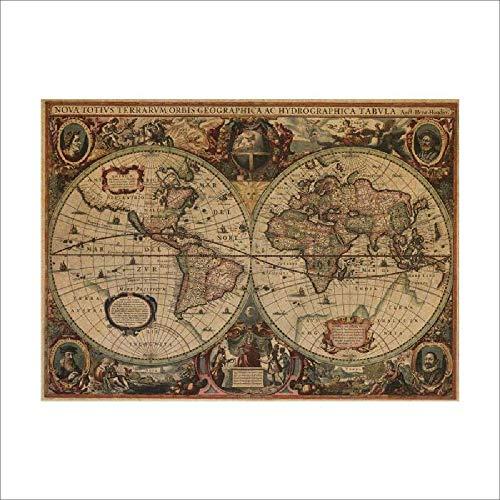 LKNS Wandaufkleber Antike Seekarten Vintage Kraftpapier Poster Wandaufkleber Raumdekoration 0214. Abziehbild Global Maps Wandkunst