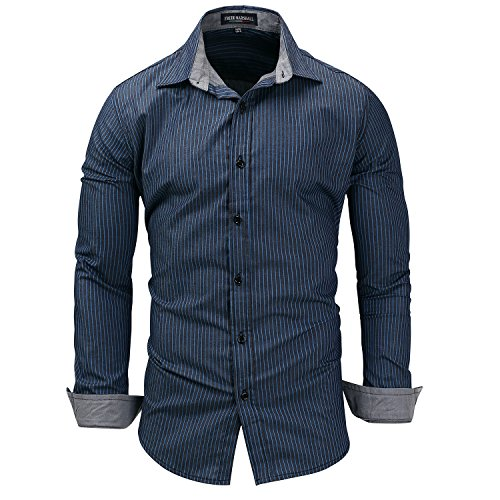 Nadelstreifen Button-down-shirt (Herren Mode Baumwolle Preussian Blue Large Size Denim Langarm-Shirt Nadelstreifen Revers Hemd(XXL,Preußisch blau))