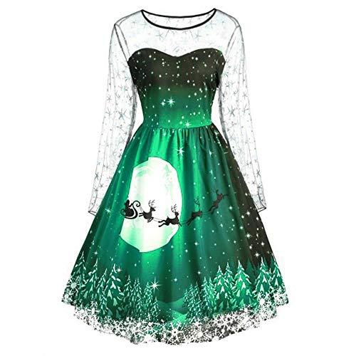 KItipeng Damen Vintage Kleid Langarm Übergröße Rundhals Knielanges Plissiert Kleid größe größe Retro A-Linie Spitzen Weihnachten Print Cocktailkleider Partykleid