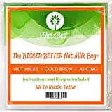 Pro Quality Nut Milk Bag - Big 12X12 Commercial Grade - Reusable Almond Milk Bag & All Purpose Strainer - Fine Mesh Nylon Cheesecloth & Cold Brew Coffee Filter - Free Recipes & Videos by Ellie's Best