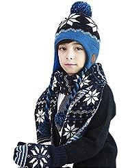 Set de 2 pièces Bonnet-Echarpe Bébé Automne Hiver Chapeau-Foulard en Velours Super Chaud Casquette Tricoté Crochet Exquis avec Beanie Pompon Mignon Douce pour Enfants Garçons Filles 4-12 ans