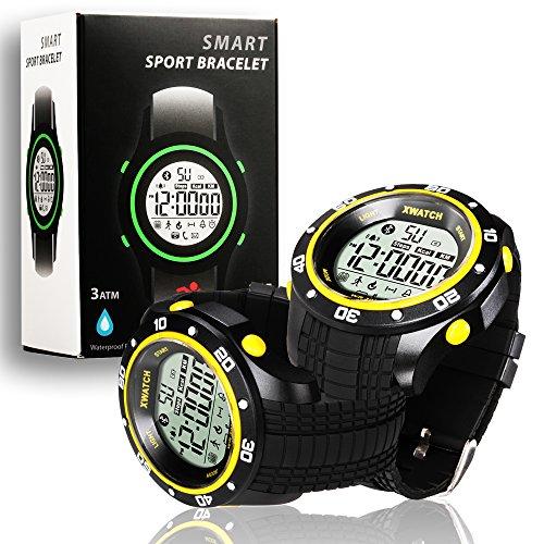 Indigi® Wasserdicht Bluetooth 4.0Sport Armbanduhr + Call/SMS Benachrichtigung + 1Jahr Akku Life + Kalorienzähler + Stoppuhr