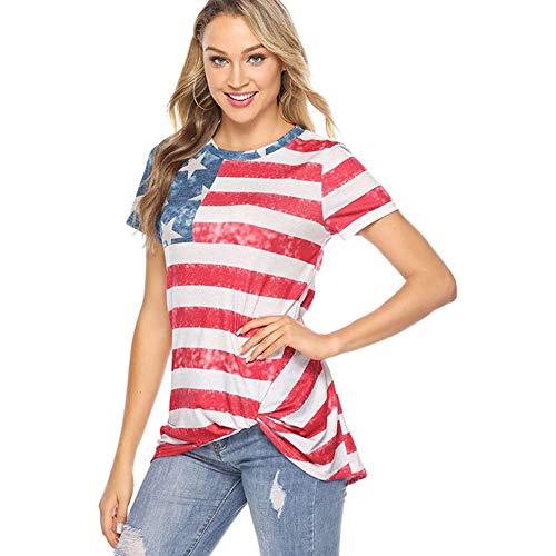 Imixcity Verano Camisas De Hombro Frío Blusas Tops del Batwing Camisetas sin Mangas Camiseta Casual Camiseta para Mujer (S, X-Rojo Raya)