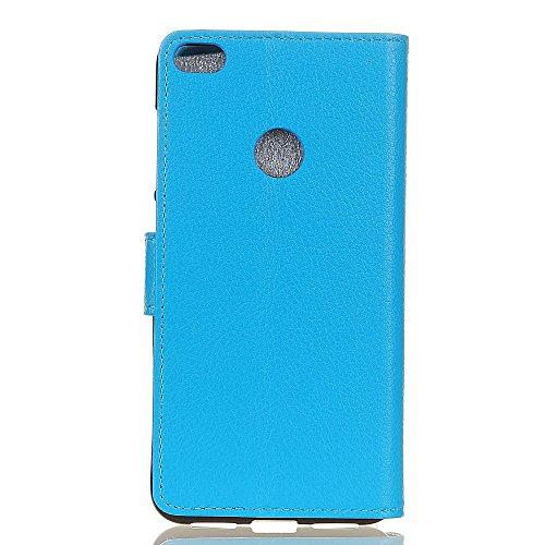 Klassische Litchi Textur PU Leder Schutzhülle Horizontale Folio Flip Stand Case Cover mit Kartensteckplätzen für Huawei P8 LITE 2017 ( Color : Brown ) Blue