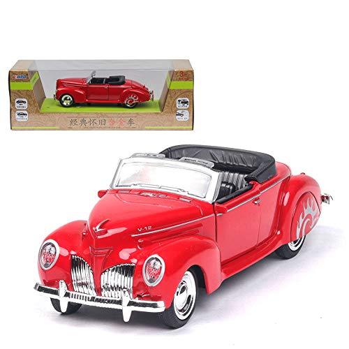 Amyove 1/38 Simulation Alloy Cabrio Oldtimer mit Sound und Licht Kinder Spielzeugauto rot