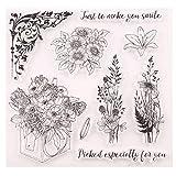 Timbro in silicone trasparente a forma di fiore, per fai da te, scrapbooking, goffratura, album fotografici decorativi, biglietti, regali fatti a mano