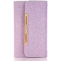 Wallet Case for iPhone X, TechCode Women Cute Style Candy Color PU Leather Stand Cover Flip Lady Multi Envelope Wristlet HandBag Clutch Wallet Case for iPhone X /iPhone 10 -Purple