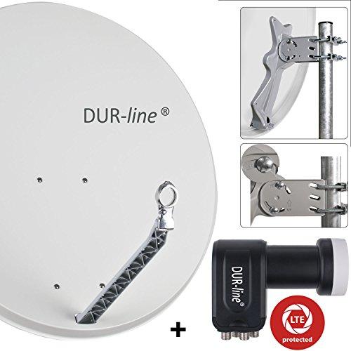 DUR-line 4 Teilnehmer Set - Qualitäts-Alu-Satelliten-Komplettanlage - Select 85/90cm Spiegel/Schüssel Hellgrau + Quad LNB - für 4 Receiver/TV [Neuste Technik, DVB-S2, 4K, 3D]