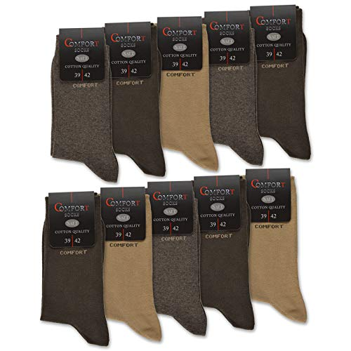 sockenkauf24 10 Paar Damen & Herren Comfort Socken ohne Gummi ohne Naht mit Komfortbund Baumwolle Schwarz Navy Jeans (10 x Beige/Braun 47-50)