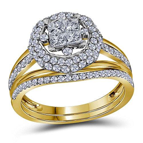 Damen-Verlobungsring 14 kt Gelbgold Prinzessin Diamant Halo Brautschmuck Verlobungsring 1,00 Karat
